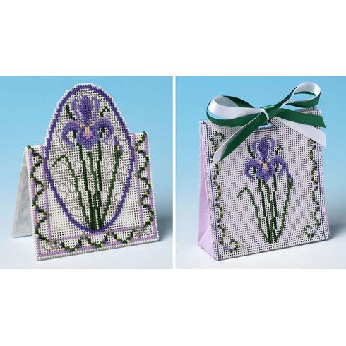 Purple Iris Gift Bag And Card Set 3D Cross Stitch Kits