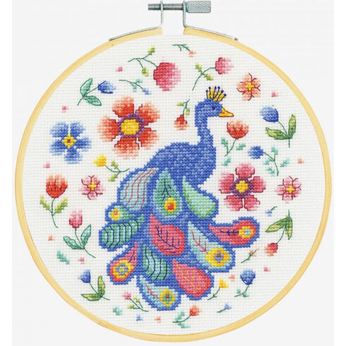 Peacock In Bloom Cross Stitch Hoop Kit