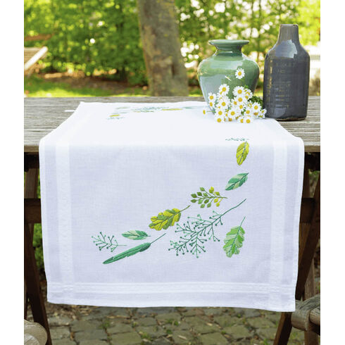Leaves And Grass Embroidery Table Runner Kit