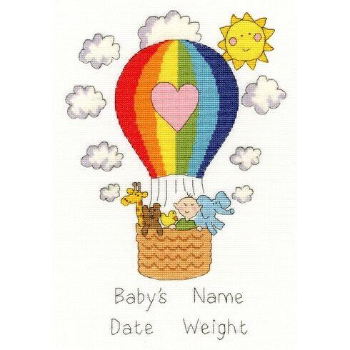Balloon Baby Birth Sampler Cross Stitch Kit