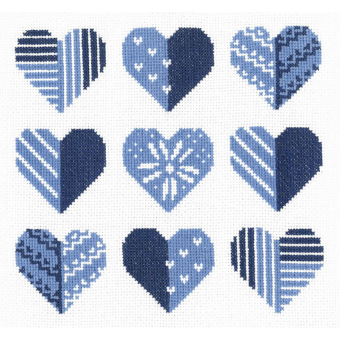 Blue Hearts Cross Stitch Kit