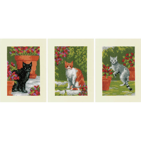 Cats Between Flowers Cross Stitch Card Kits (Set Of 3)