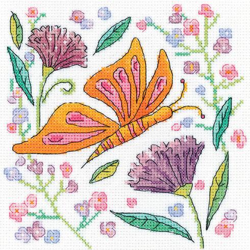 Orange Butterfly Cross Stitch Kit