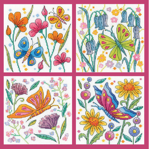 Colourful Butterflies Cross Stitch Kits Set Of 4 - Blue, Green, Orange and Red