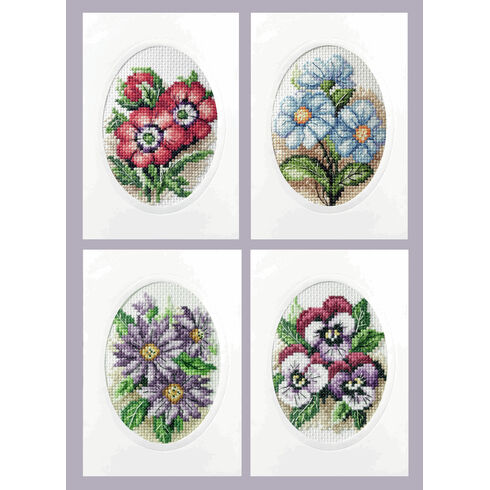 A Bunch Of Flower Cards Cross Stitch Kits (Set of 4)