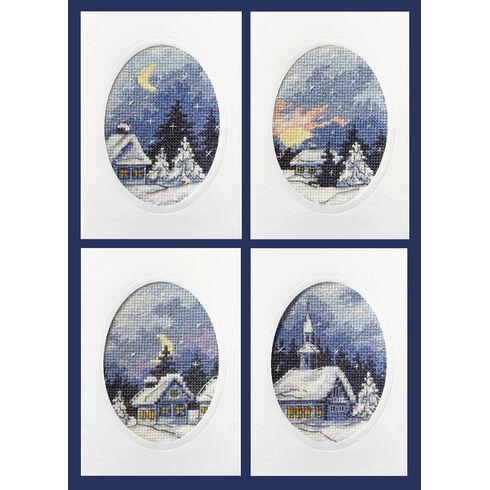 Moonlight Christmas Cards Cross Stitch Kits (Set of 4)