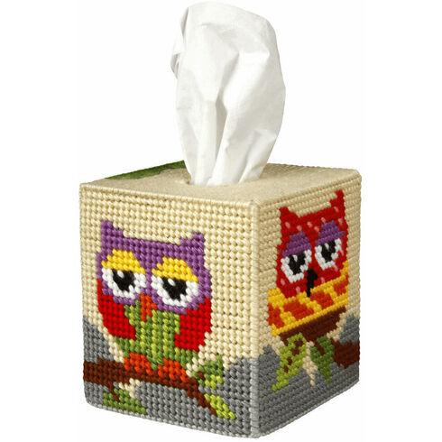 Owl Tissue Box Cover Tapestry Kit