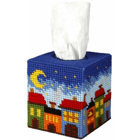 Night City Tissue Box Cover Tapestry Kit