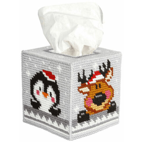 Winter Pets Tissue Box Cover Tapestry Kit