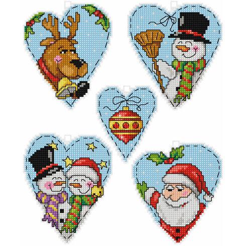 Christmas Motif Hearts Cross Stitch Ornaments Kit