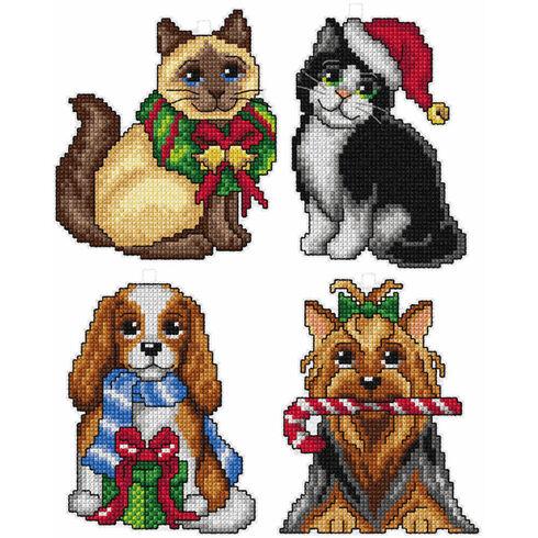 Christmas Pets Cross Stitch Ornaments Kit