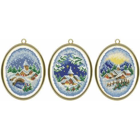Christmas Village Miniatures Cross Stitch Kit (Set of 3) - Includes frames