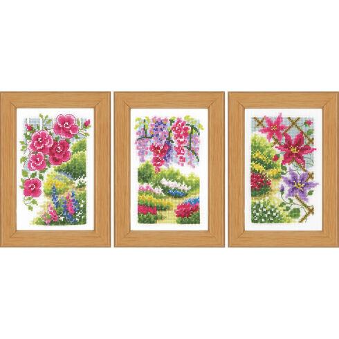 In My Garden Miniatures Cross Stich Kit (Set of 3)