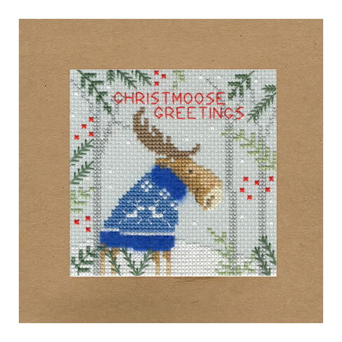 Christmoose Greetings Cross Stitch Christmas Card Kit