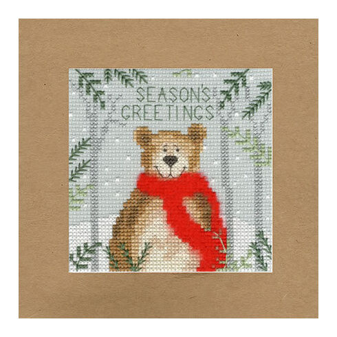 Christmas Bear Cross Stitch Card Kit
