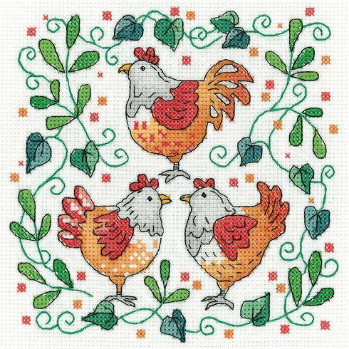 Three French Hens Cross Stitch Kit