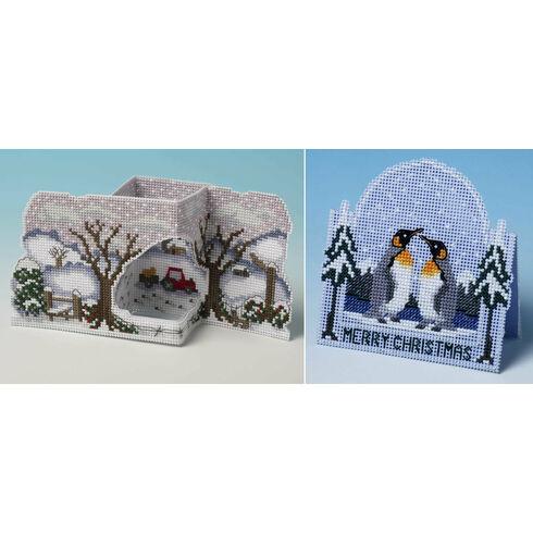 Christmas On The Farm & Penguin Set Of 2 3D Cross Stitch Card Kits