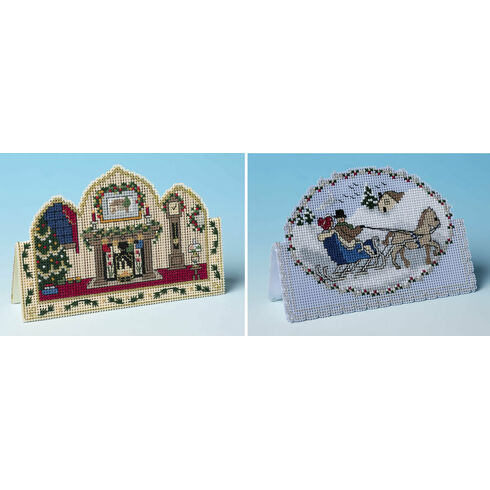 Ready For Christmas & Dashing Through The Snow Set of 2 3D Cross Stitch Card Kits