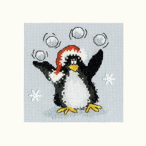 PPP Playing Snowballs Cross Stitch Christmas Card Kit
