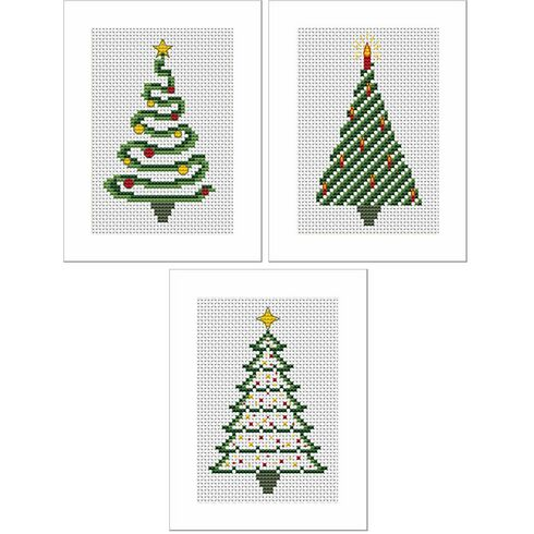 Festive Trees Cross Stitch Christmas Card Kits - Set of 3