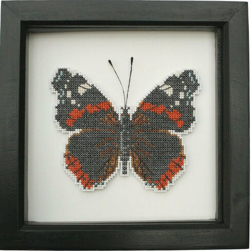 Red Admiral Butterfly Faux Taxidermy Cross Stitch Kit