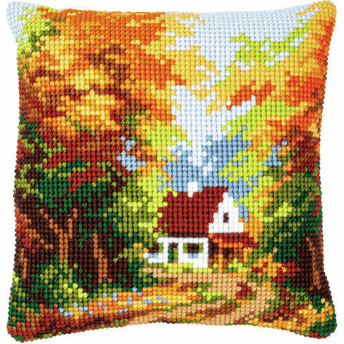 Forest House Chunky Cross Stitch Cushion Panel Kit