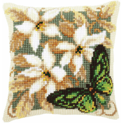 Green Butterfly Chunky Cross Stitch Cushion Panel Kit