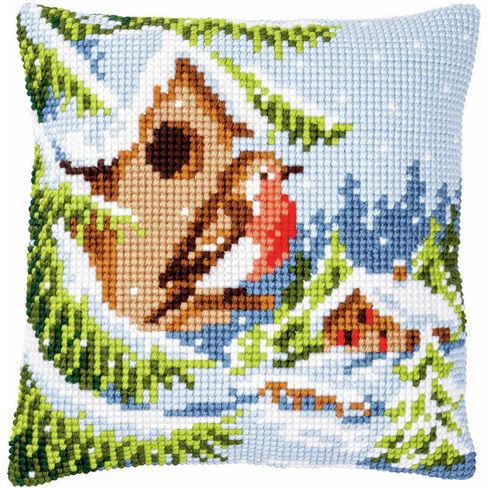 Robin In Winter Chunky Cross Stitch Cushion Panel Kit