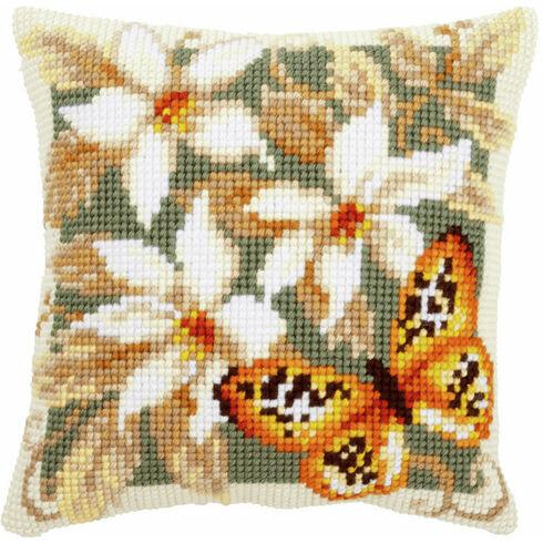 Orange Butterfly Chunky Cross Stitch Cushion Panel Kit
