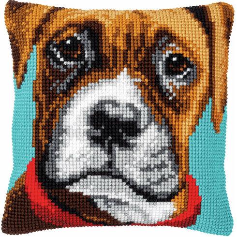 Boxer Dog Chunky Cross Stitch Cushion Panel Kit