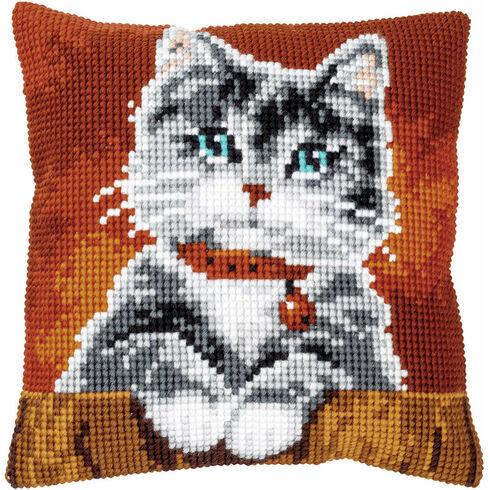 Cat With Collar Chunky Cross Stitch Cushion Panel Kit