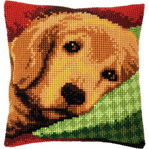 Sleepy Little Dog Chunky Cross Stitch Cushion Panel Kit