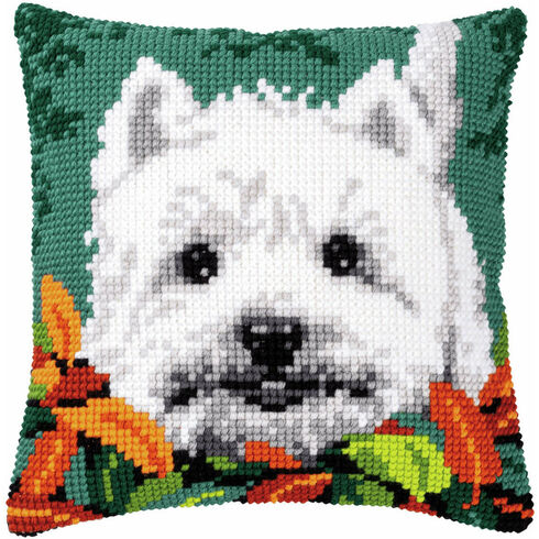 Westie Between Leaves Chunky Cross Stitch Cushion Panel Kit