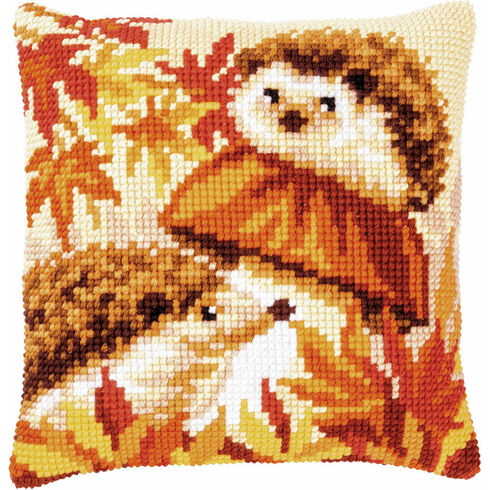 Hedgehogs On Mushroom Chunky Cross Stitch Cushion Panel Kit
