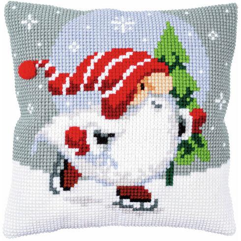 Christmas Gnome On Ice Chunky Cross Stitch Cushion Panel Kit