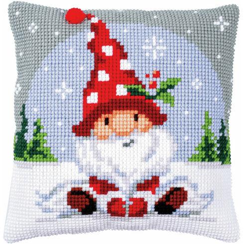 Christmas Gnome On Snow Chunky Cross Stitch Cushion Panel Kit