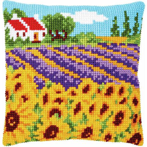 Sunflower Field Chunky Cross Stitch Cushion Panel Kit
