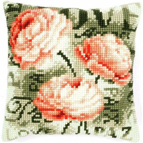 Peony On Green Chunky Cross Stitch Cushion Panel Kit
