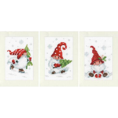 Christmas Gnomes 3 - Set of 3 Cross Stitch Card Kits