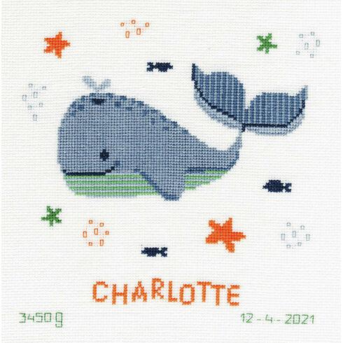 Whales Fun Cross Stitch Birth Record Kit