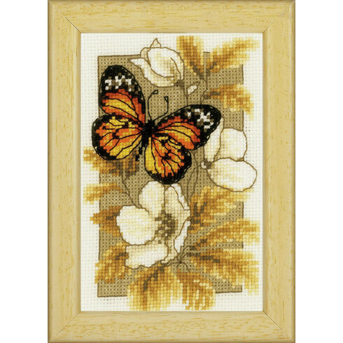 Butterfly On Flowers 1 Cross Stitch Kit With Frame