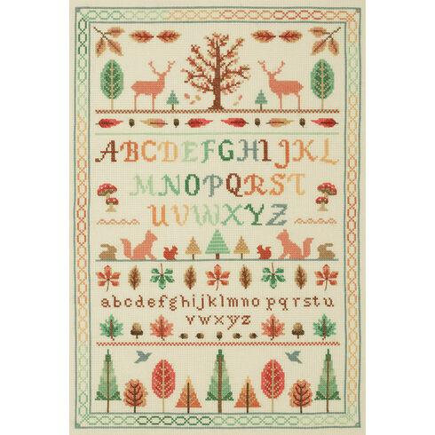 Autumn Forest Alphabet Sampler Cross Stitch Kit