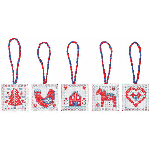 Red & Blue Nordic Christmas Decorations Cross Stitch Kit