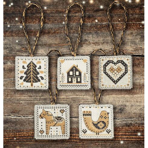 Black & Gold Nordic Christmas Decorations Cross Stitch Kit