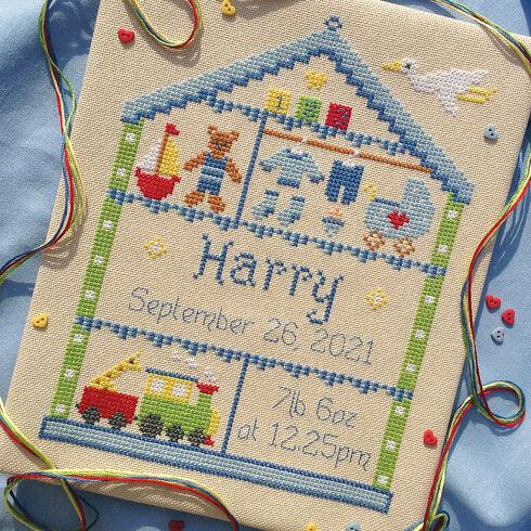 Little Boy Nursery Cross Stitch Birth Sampler Kit