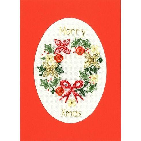 Festive Christmas Wreath Cross Stitch Card Kit