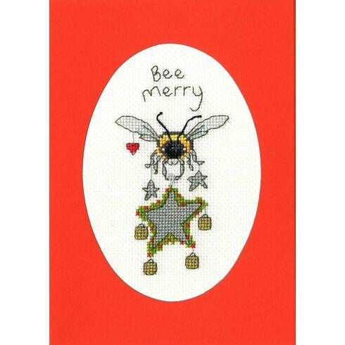 Bee Merry Cross Stitch Christmas Card Kit