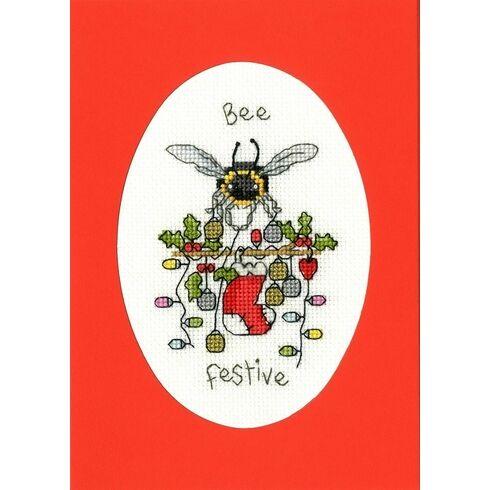 Bee Festive Cross Stitch Christmas Card Kit