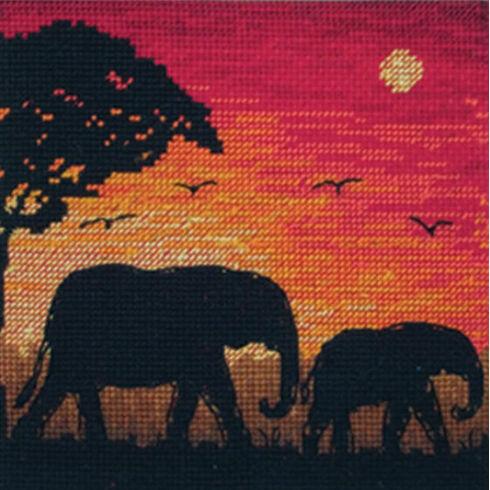 Elephant Silhouette Cross Stitch Kit