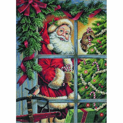 Candy Cane Santa Cross Stitch Kit